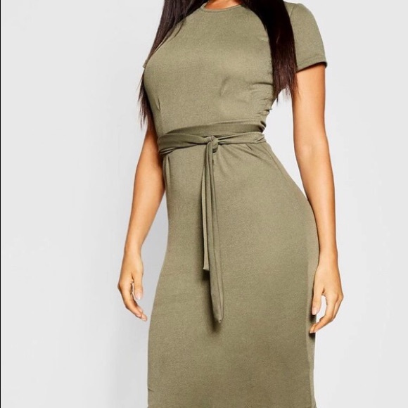 20cdeec925d3 Boohoo Plus Dresses | Boohoo Pleat Front Belted Tailored Midi Dress ...